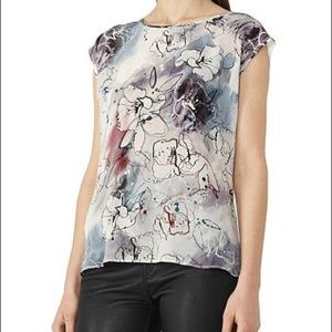 Reiss Coleen Silk Front Floral Tank Top Small